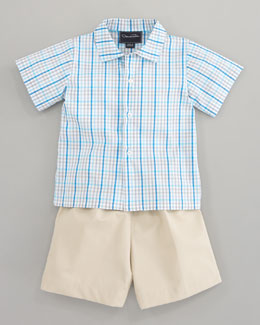 Oscar de la Renta Short Sleeve Check Shirt & Classic Trousers, Beige