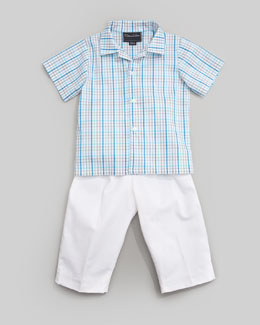 Oscar de la Renta Short Sleeve Check Shirt & Classic Trousers, White