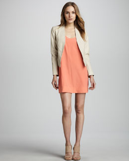 Joie Venette Open-Front Leather Jacket & Dawna Sleeveless Silk Dress