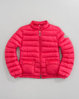 Moncler Lans Long Season Packable Jacket, Fuchsia