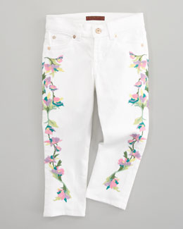 7 For All Mankind Floral-Embroidered Cropped Skinny Jeans