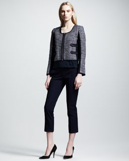 Victoria Beckham Denim Cropped Colorblock Twill Jacket, Racerback Tank & Cropped Chino Pants