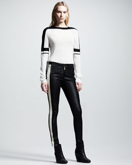 ALC Sachi Striped Sweater & Hendon Striped Leather Pants