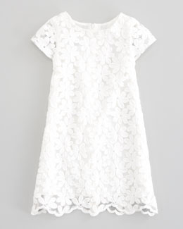 Charabia Crocheted Lace-Overlay Dress, White