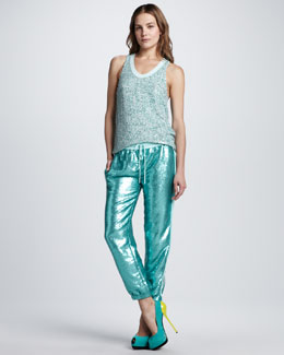 Diane von Furstenberg Emilia Sequined Tank & Kamaris Sequined Drawstring Pants