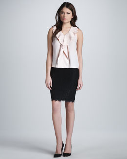 Diane von Furstenberg Bobbie Sleeveless Ruffle Top & Scotia Lace Skirt