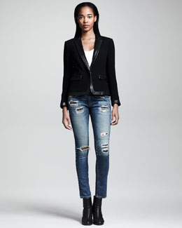 Rag & Bone Epton Leather-Trim Blazer & Ripped Skinny Grayson Jeans