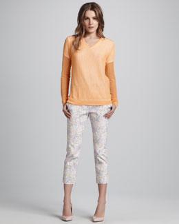 Tibi V-Neck Sweater & Slouchy Cropped Pants