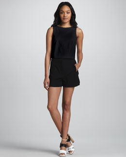 Tibi Perforated Leather Crop Top & High-Waist Stretch Shorts