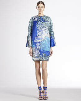 Gucci Dahlia Printed Silk Gazar Collarless Coat & Dahlia Printed Silk Georgette Tunic Dress