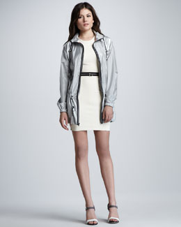 Milly Reflective Hooded Anorak & Zip-Waist Bicolor Racerback Dress