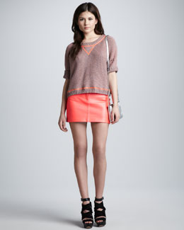 Milly Oversized Chunky-Knit Sweater & Lamb Leather Miniskirt
