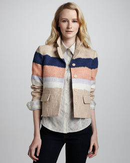 Tory Burch Austine Ombre Box Jacket & Brigitte Printed Tab-Sleeve Blouse