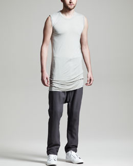 Rick Owens  Basic Sleeveless Tee & Long Drop-Crotch Drawstring Pants