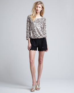 Diane von Furstenberg Kavita Metallic Sequined Top & Benan High-Waist Lace Shorts