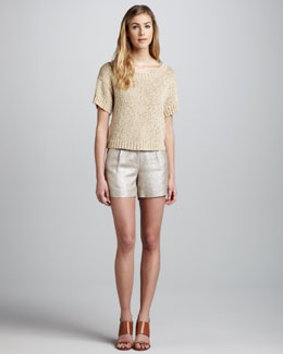 Milly Mackenzie Shimmery Knit Top & Metallic Shorts
