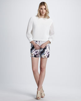 Theyskens' Theory Belcor Sheer-Sleeve Blouse & Panther Printed Shorts