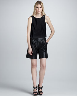 Tibi Perforated Crop Top & Perforated Leather Shorts