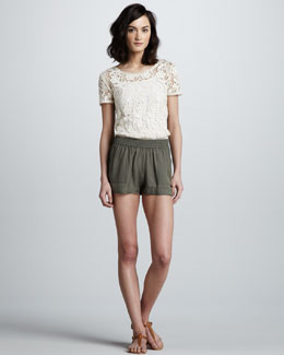 Joie Lace-Crochet Top & Beso Pull-On Shorts