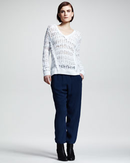 Rag & Bone Vicky Open-Knit V-Neck Sweater & Cropped Easy Drawstring Pants