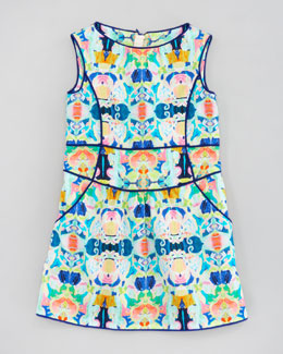 Milly Minis Romy Kaleidoscope-Print Piped Sheath Dress