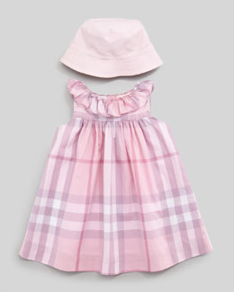 Burberry Voile Check Dress & Sun Hat With Check Lining