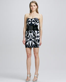 Herve Leger Strapless Geometric-Pattern Dress & Triple-Buckle Leather Belt