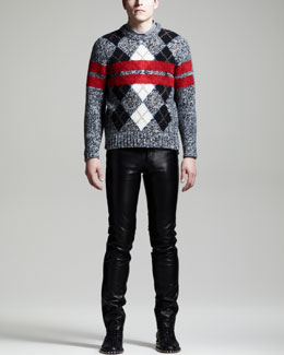 Givenchy Argyle Stripe Sweater, Star & Striped Detail Polo & Slim Leather Jeans