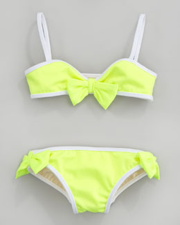Milly Minis Mini Sagaponak Shimmer Two-Piece Swimsuit, Lemon Yellow