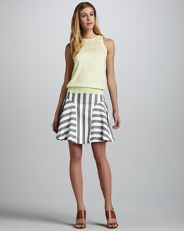 Milly Alana Netted Knit Top & Kylie Flounce Skirt