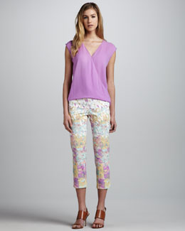 Tibi Sleeveless V-Neck Wrapped Top & Floral-Print Jeans