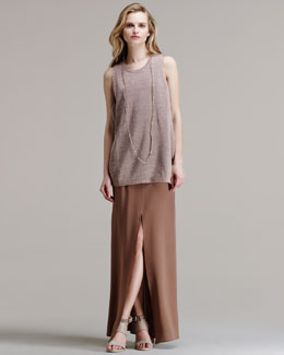 Brunello Cucinelli Sleeveless Cotton-Metallic Tank, Silk Crepe Mermaid Skirt & Leather/Metal Necklace