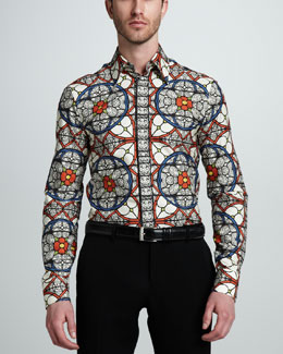 Alexander McQueen Stained Glass-Print Sport Shirt & Wool/Mohair Dress Pants