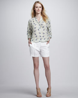 Milly Camila Pelican Printed Top & Abbey Shorts
