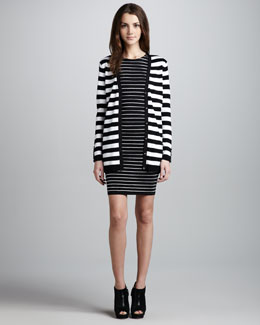 Alice + Olivia Rose Striped Cardigan & Dee Stripe Fitted Dress