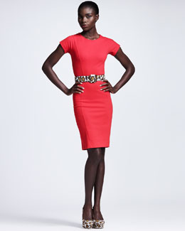 Stella McCartney Cap-Sleeve Jersey Sheath Dress & Leopard-Print Belt