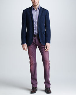 Etro Paisley Jersey Sport Coat, Paisley & Striped Sport Shirt & Dyed Denim Jeans