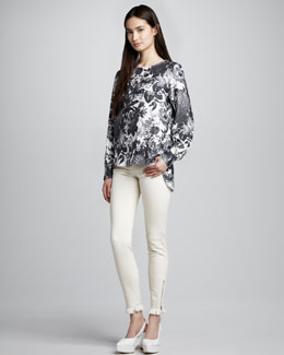 Stella McCartney Floral-Print Top and Fringe-Hem Skinny Jeans