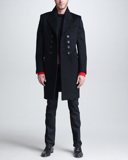 Burberry Prorsum Cashmere-Blend Double-Breasted Overcoat, V-Graphic Sweater & Five-Pocket Denim Trousers