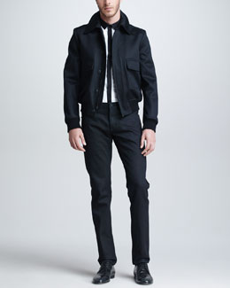 Burberry Prorsum Cashmere-Blend Bomber Jacket, Long-Sleeve Modern-Fit Dress Shirt & Five-Pocket Denim Trousers