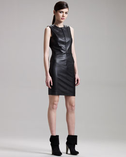 THE ROW Front-Zip Leather Dress