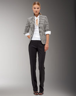 Akris punto Striped Blazer, Spread-Collar Blouse & Straight-Leg Pants