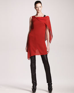 Ann Demeulemeester Georgia Asymmetric Ruffle-Back Dress