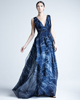 Carolina Herrera Hand-Painted Silk Organza Gown
