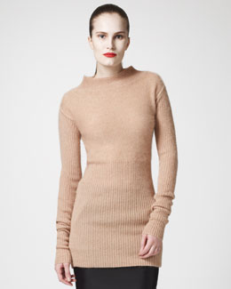 Rick Owens Ribbed Mock-Neck Sweater, Pumpkin