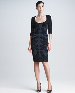 Zac Posen Floral Three-Quarter-Sleeve Dress