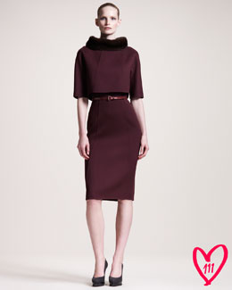 Carolina Herrera BG 111th Anniversary Mink-Collar Dress