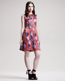Jonathan Saunders Dias Pleated Floral-Print Dress