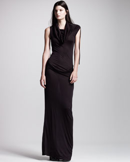 Ann Demeulemeester Ruched Cowl-Neck Long Dress