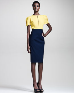 Fendi Short-Sleeve Bifabric Dress